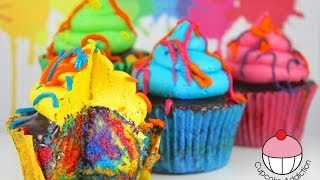 Rainbow Paint Splatter Cupcakes! More Rainbow Cakes with Cupcake Addiction.... - YouTube
