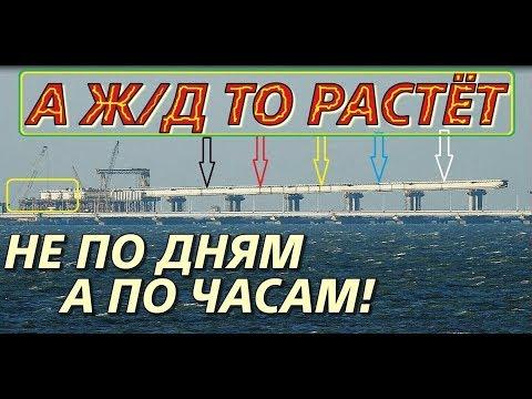 Крымский(апрель 2018)мост! Надвижка Ж/Д пролётов с Крыма и Тамани! Мост растёт быстро!Обзор! видео