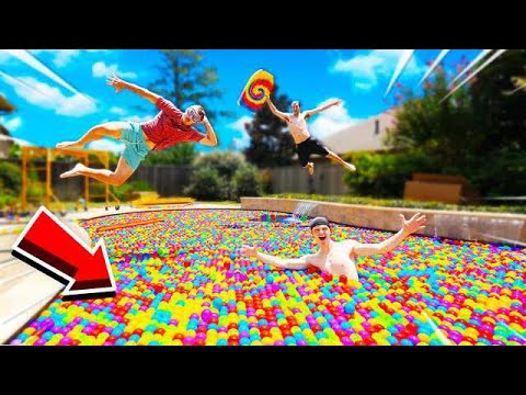 I FILLED MY ENTIRE POOL WITH BALL PIT BALLS...