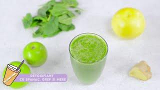 Cum sa prepari un suc Detoxifiant cu spanac, grepfruit si mere Reteta detaliata pas cu pas...
