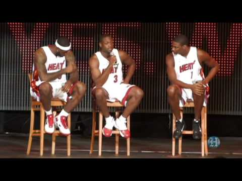 big 3 - Miami welcomes the three kings of the Miami Heat as Lebron James, Dwyane Wade, and Chris Bosh join the NBA team in a spectacular show at AmericanAirlines Are...