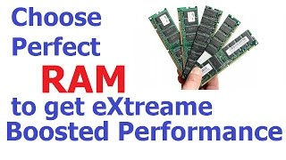 "This video explains how to choose perfect RAM (Memory) that will give performance boost for your PC or Laptop. PHYSICAL SIZERAM modules vary in physical size based on the type of computer they're used for and the number of pins on the module. Dual Inline Memory Modules (DIMMs) with 168 pins are 5.25 inches long. DIMMs with less pins are typically smaller, with more pins meaning a physically larger module. DIMMs are commonly used in desktop computers, whereas laptops typically use Small Outline Dual Inline Memory Modules (SODIMMs). SODIMMs use the same technology but they're physically smaller, allowing them to fit in laptops.AMOUNTThe amount is another important specification to remember. Your computer can only hold so much RAM and while going over the specified limit won't harm your computer, your PC will only use as much of it as it was designed to use. Amount is commonly measured in gigabytes (GB), though older or low-end computers may measure maximum RAM in megabytes (MB). A gigabyte contains roughly 1,000 megabytes, meaning the RAM is much faster. Be sure to consider how many memory slots your computer has, as well. Some computers have two slots to install memory, others have four and some have even more.TYPEThe memory type is important because this is where the majority of RAM's compatibility issues lie. Multiple variations of Double Data Rate (DDR) memory technology are used in various computers. DDR2 is faster than DDR memory, while DDR3 memory is faster than both. If your computer requires DDR3 memory, DDR2 memory won't work.SPEEDMemory speed is frequently denoted by ""PC-"" followed by a number that denotes the peak transfer rate and bandwidth of that type of memory. For example, PC-2400's peak transfer rate is around 2,400 megabytes per second (MB/s). The peak transfer rate basically denotes the best performance possible for that memory. ""PC2"" and ""PC3"" simply refer to DDR2 and DDR3 memory, respectively. The specifications may list the memory under a name known as the ""friendly name,"" which looks something like ""DDR3-1066."" In this case, 1066 represents the data transfer rate in millions per second."