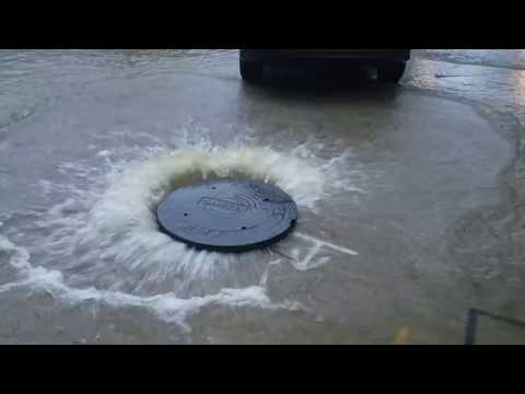 Harvey Flood - Houston - Sanitary Sewer Spewing Into Strorm Drain