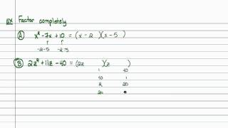 Intermediate Algebra - A Brief Review of Multiplying and Factoring Polynomials (Part D)
