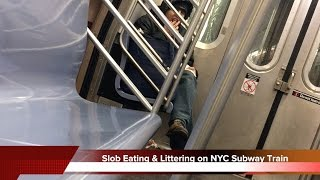 Slob Eats Then Litters on NYC Subway Train