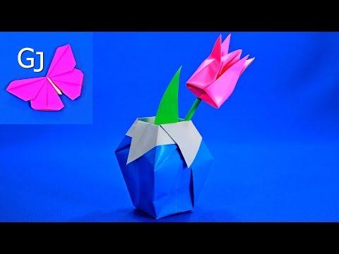 Оригами из бумаги   Ваза с тюльпаном - DomaVideo.Ru