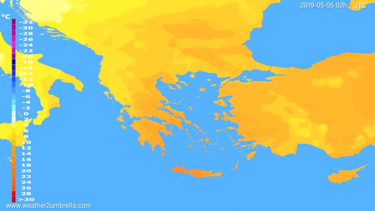 Temperature forecast Greece // modelrun: 12h UTC 2019-05-02