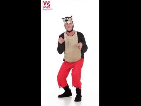 Déguisement de grand méchant loup avec pantalon, couvre botte et masque