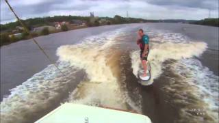 Messing about wakesurfing on the river and many attempts at a 360. 1999 Mastercraft 205v, 330bhp LTR Indmar. Fitted with homemade wake surf device.