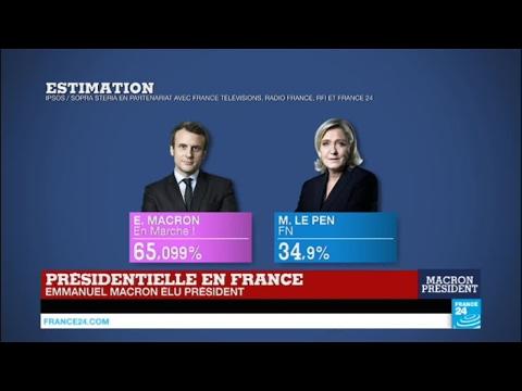 Au QG de Marine Le Pen, perdante de l'élection, les militants chantent la Marseillaise