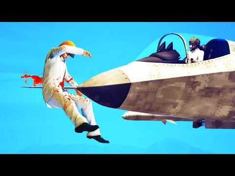 IMPALED BY A FIGHTER JET! (GTA 5 Funny Moments) (видео)