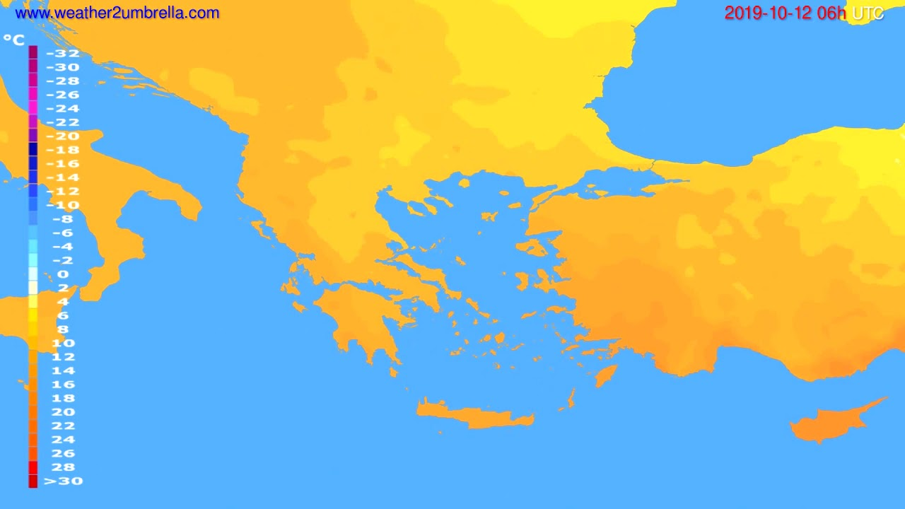 Temperature forecast Greece // modelrun: 00h UTC 2019-10-10