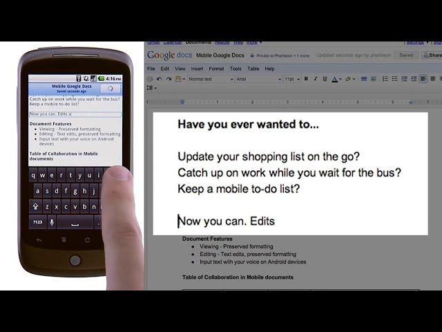Mobile Editing in Google Docs