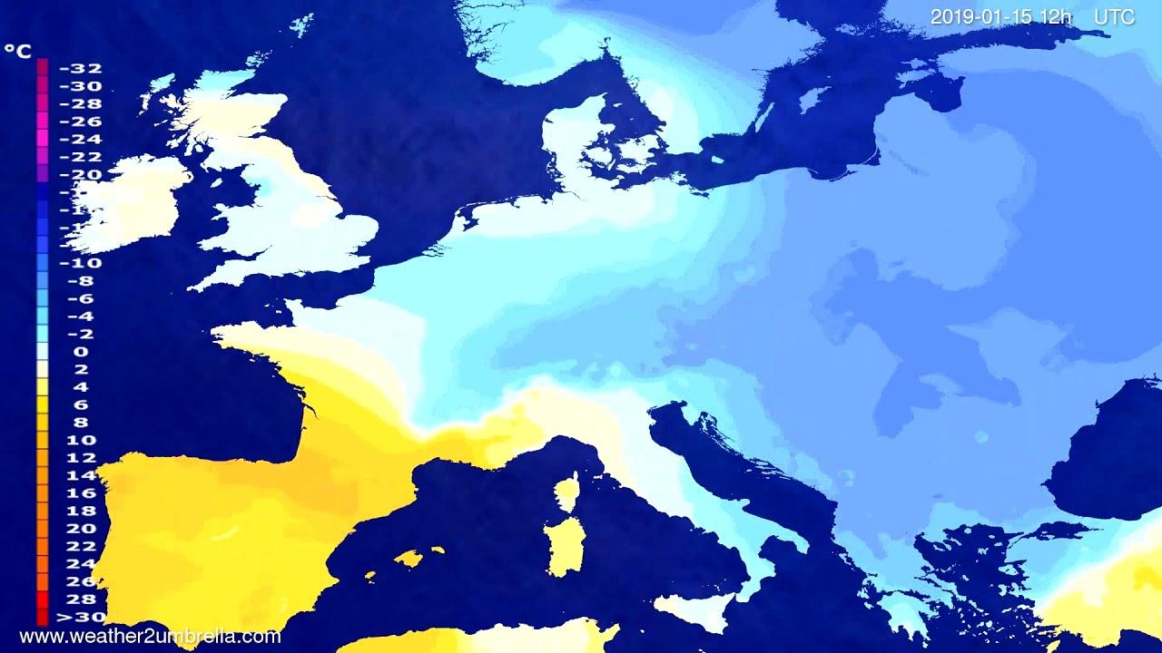 Temperature forecast Europe 2019-01-13
