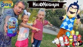 Hello Neighbor in Real Life! Mighty Beanz Toy Scavenger Hunt Outside!!