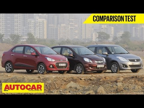Hyundai Xcent Vs Honda Amaze Vs Maruti Dzire | Comparison Test | Autocar India
