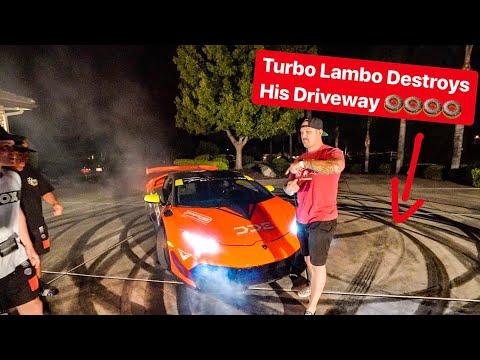 MY REBUILT 1000HP TURBO LAMBORGHINI DESTROYS TANNER FOX DRIVEWAY!
