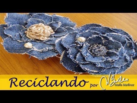 Reciclando: Broche de tela vaquera inspirado en Chanel (Camelia) / DIY Chanel Camelia Denim Brooch