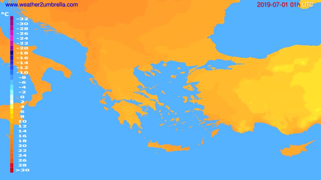 Temperature forecast Greece // modelrun: 00h UTC 2019-06-29
