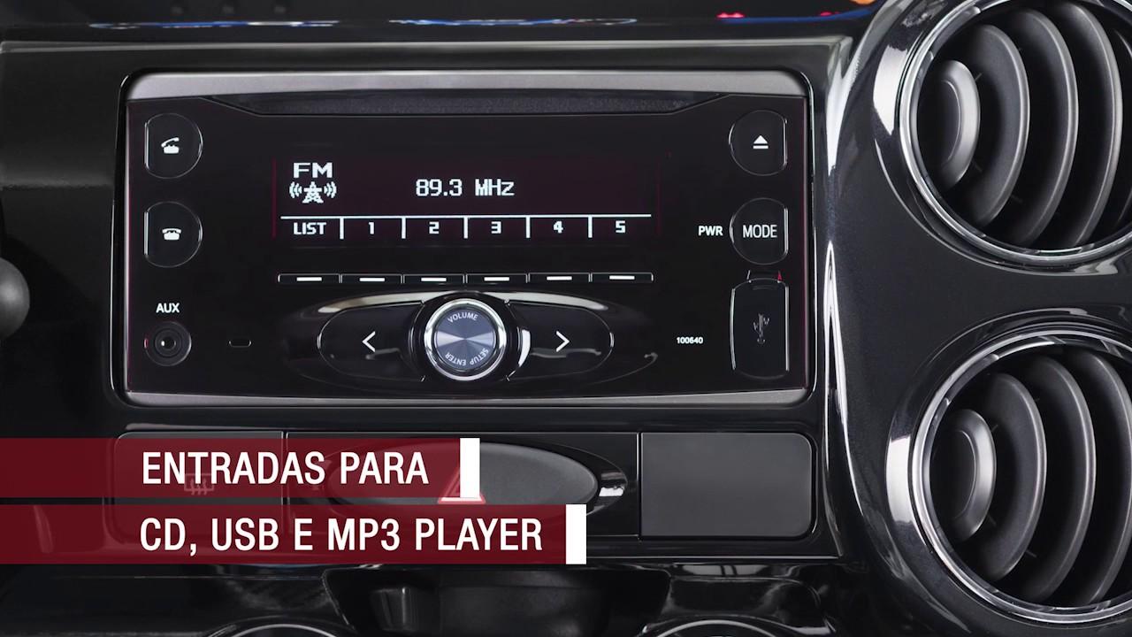 Acessório: rádio 2 DIN com CD player e Bluetooth®