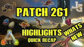 "The ARK patch 261 has been released and I'll give you the highlights of this patch. Whats new and what did they change? Any important stuff I need to know?This didn't made it into the video:- Made torches equippable on all appropriate land dino saddles. Drag the torch onto the saddle to equip.- Consuming Rare Mushroom and Rare Flowers now gives their intended effects. Here is a recap of the 261 patch:Onyx can now infect you with MEGARABIES!!Mantis and Scorpion now receive the Oviraptor egg laying buff!Increased chance for an alpha to spawn (in multiplayer only) by 2x.Underwater and cave crates now give two items instead of one.Added visual indicator for tames and players when their inventory slots are maxed out.Dung Beetle is no longer aggressive unless provoked.Fixed improper baby Wyvern food values.Reduced Pegomastax health (200 base to 120 base).Reduced Troodon damage by 33%.Increased tentacles dropped from the Tuso from 1 to 8.This is some of the changes in the patch 261 and you can see the rest of them here:https://survivetheark.com/index.php?/forums/topic/166421-pc-patch-notes-current-v2602-upcoming-v261-july-6/SUBSCRIBE to learn more about ARK!http://www.youtube.com/subscription_center?add_user=jonesy-gamingPATREON: Let's support each other!https://www.patreon.com/JonesyGamingHOST your own ARK server?https://hosthavoc.com/billing/aff.php?aff=589-- My WISHLIST for my new HIGH END GAMING computer --▪ Monitor ▪ Asus 27"" LED G-Sync Rog Swift PG279Qhttp://amzn.to/2oDRZ4v▪ GPU ▪ Asus GeForce GTX 1080 Ti Founders Ed.http://amzn.to/2nQr6gv▪ CPU ▪ Intel Core i7-7700K Kaby Lake Processorhttp://amzn.to/2nkMQgx▪ RAM ▪ 2x Corsair Vengeance LPX DDR4 3200MHz 16GBhttp://amzn.to/2oE8Unv▪ MB ▪ ASUS Strix Z270F Gaming, Socket-1151http://amzn.to/2nkNCtZ ▪ SSD ▪ Samsung 850 EVO 500GB M.2 SSDhttp://amzn.to/2nkzWPM▪ Cooler ▪ Noctua NH-U14S CPU Coolerhttp://amzn.to/2nkEBkI▪ PSU ▪ EVGA Power Supply 650W GOLDhttp://amzn.to/2oDZOao▪ CASE ▪ Fractal Design - Define C Blackhttp://amzn.to/2nkDpOj"
