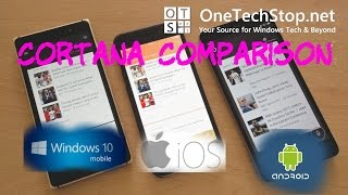 We take a look at how Microsoft's voice assistant Cortana compares on the three main mobile platforms. In this video Cortana is running on the Lumia 830 for Windows 10 Mobile, the iPhone 6s for iOS 10 and the Redmi Note 3 for Android, version 5.0.2.Comments and questions are welcome, and you can visit our website: http://onetechstop.netFind us on Twitter: http://twitter.com/onetechstopAnd make sure you subscribe to catch our upcoming videos!