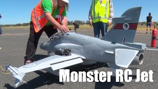 Monster RC Jet Turbine Airplane flying at the Temora Jet Meeting held September 2014.  Check out the close call on takeoff.