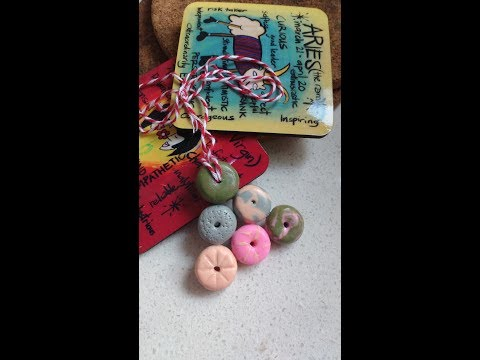 POLYMER Clay donut shaped bead necklace