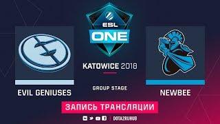 Evil Geniuses vs NewBee, ESL One Katowice, game 1 [GodHunt, 4ce]