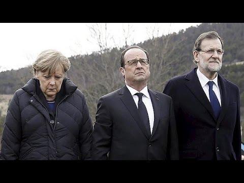 Fransız, Alman ve İspanyol liderler facia alanını ziyaret etti