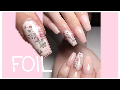 Uñas acrilicas - Uñas acrílicas con FOIL / Uñas Rosadas