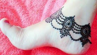 Beautiful Anklet Mehndi  Design Payal  Mehndi Pazeb Henna Fo...
