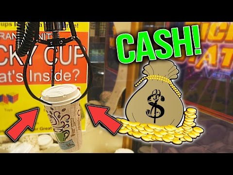 Winning CASH On The Lucky Cup Claw Machine! | Skill Crane Wins