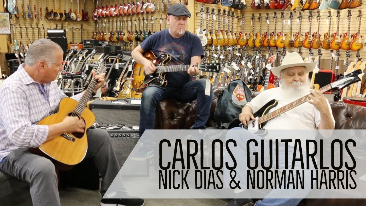 Carlos Guitarlos / Nick Dias / Norm Harris jamming here at Norman's Rare Guitars