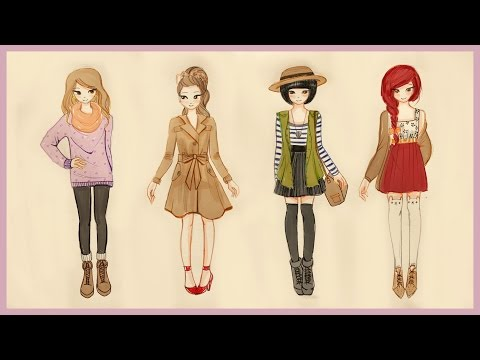 ❤ Drawing Tutorial - How to draw 4 Fall Outfits ❤