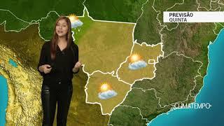 Boletim de previsão do tempo contendo informações sobre as imagens de satélite, previsão, temperatura mínima e máxima prevista e a tendência do tempo para os próximos dias.