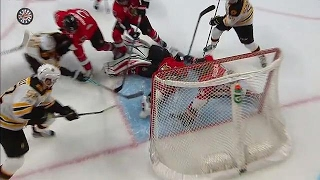 Ottawa Senators forward Jean-Gabriel Pageau makes a goal line save to help out his goalie Craig Anderson and keep the overtime in Game 5 going.