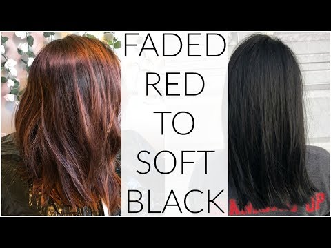 Hair color - Faded Red Balayage to Soft Black  Hair Transformation