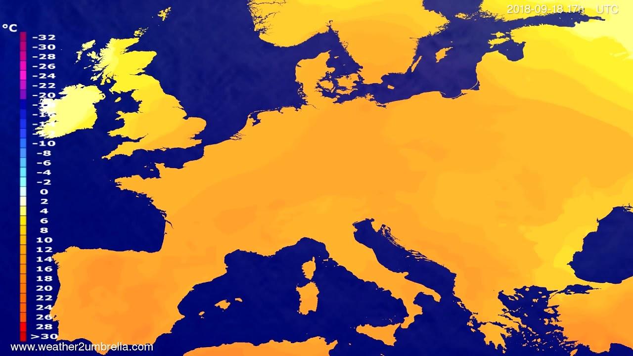 Temperature forecast Europe 2018-09-16