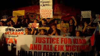 """On a rainy Monday, hundreds of protesters trooped to the People Power Monument to condemn the Duterte administration's bloody and brutal war on drugs and to call for an """"impartial"""" investigation on the killings that they said has reached """"a tipping point"""" with the death of 17-year-old Kian Loyd delos Santos. Video and editing by Noy Morcoso"""