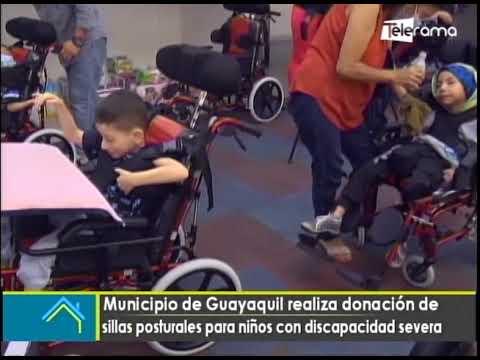 Municipio de Guayaquil realiza donación de sillas posturales para niños con discapacidad severa