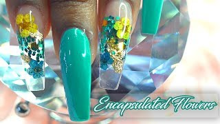 Encapsulated Real Flowers using Nail Tips   Working with Non Dominant Hand   LongHairPrettyNails