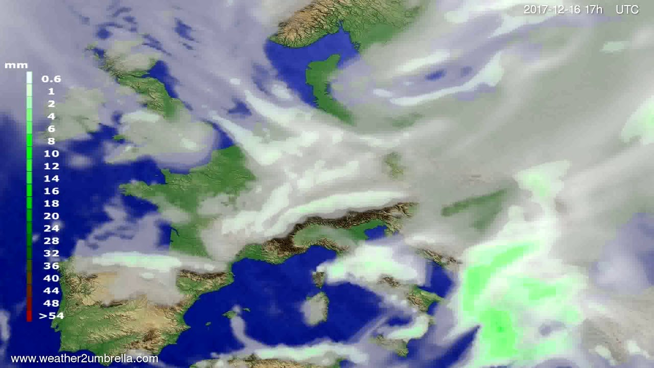 Precipitation forecast Europe 2017-12-14