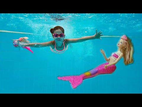 Elis Barbie Denizkızı ile havuzda yüzüyorlar@Maceraci Cocuklar
