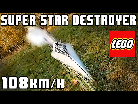 A Rocket Powered LEGO Star Wars Star Destroyer Explodes Into a Wall at 67 MPH in Slow