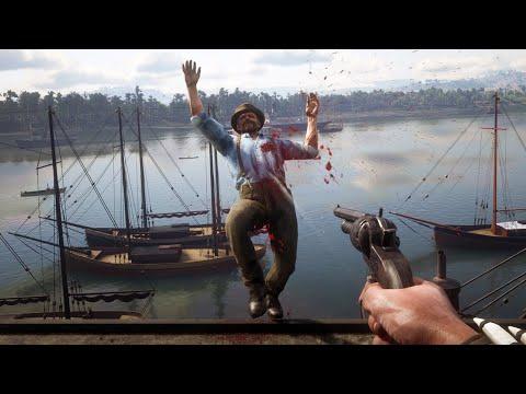 Red Dead Redemption 2 PC 60FPS - First Person Brutal Gameplay Vol. 65 (Euphoria Ragdolls)
