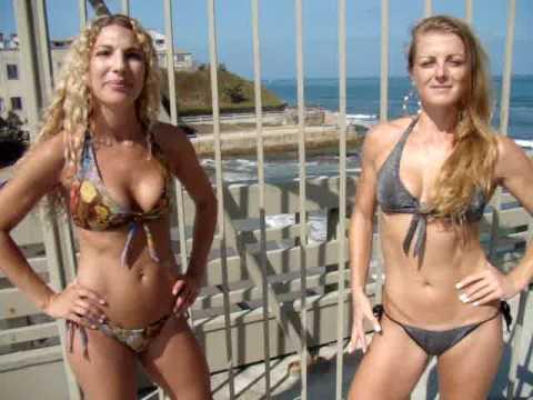 Hot Swimsuit Bikini Models Valerie and Malika on the Ocean Beach Pier