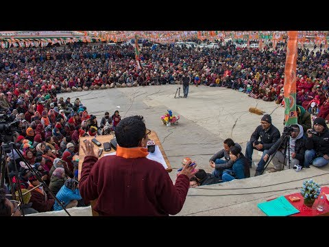 CEC Jamyang Tsering Namgyal addressing the public during the Divisional Status Celebration