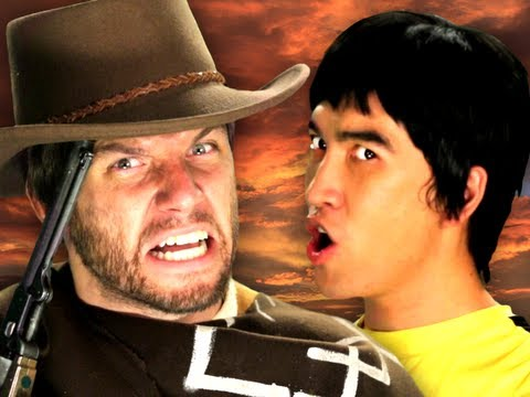 Bruce Lee vs Clint Eastwood.  Epic Rap Battles of History Season 2. (видео)