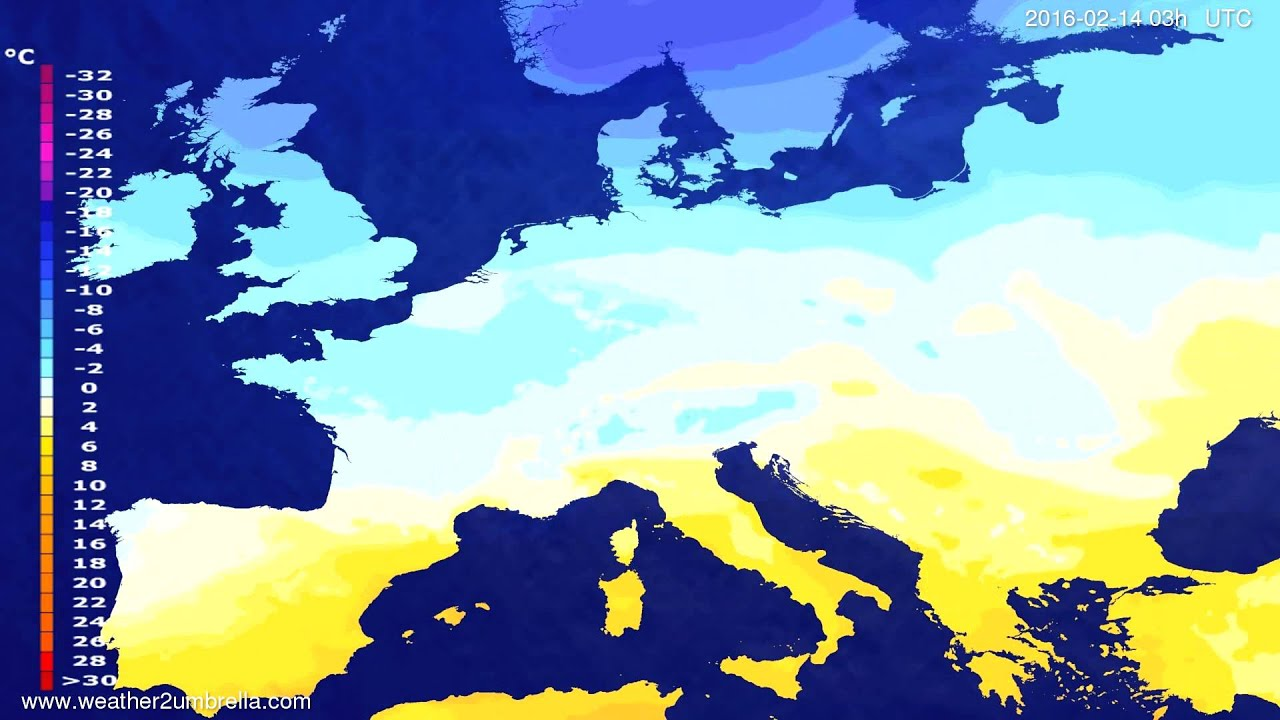 Temperature forecast Europe 2016-02-11
